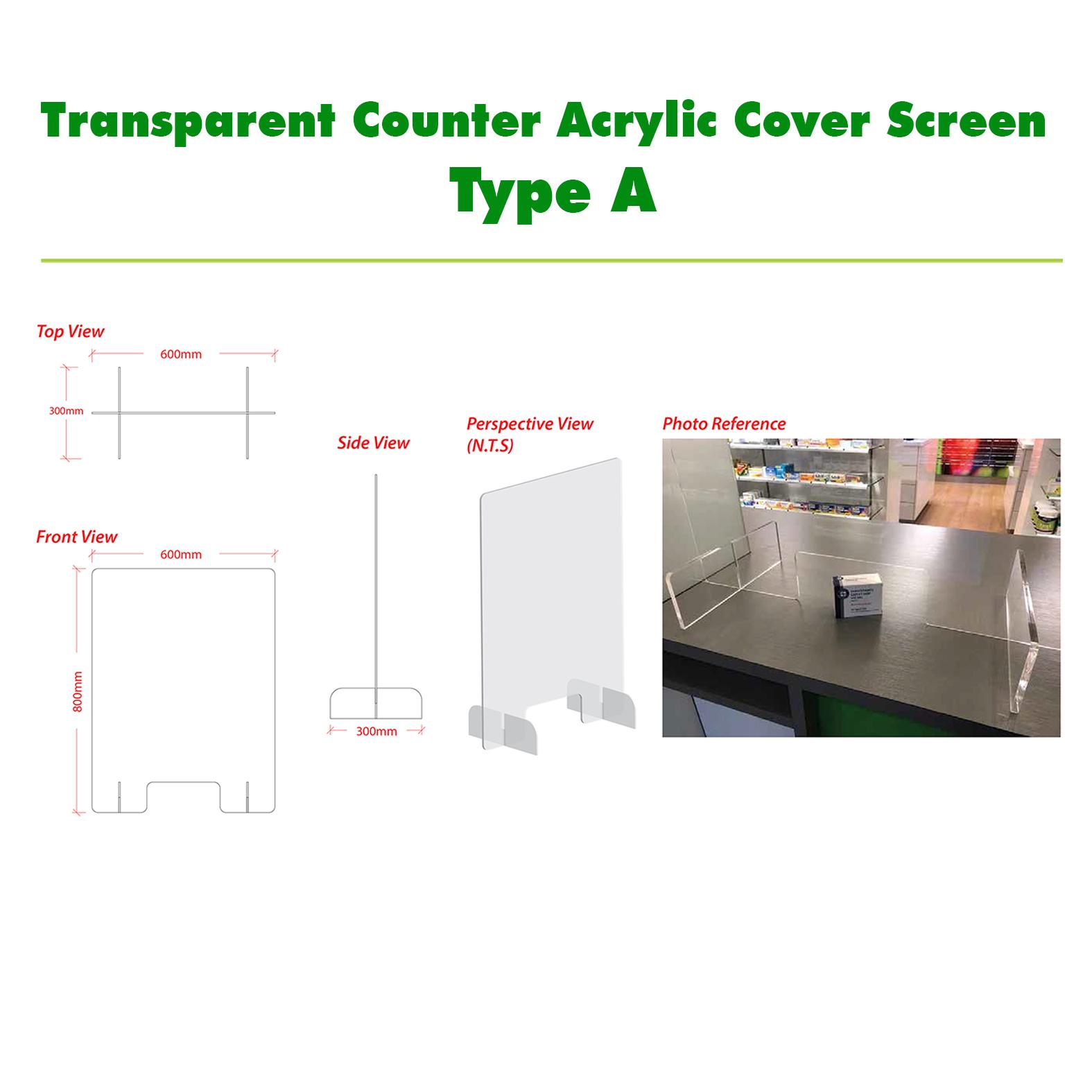 Transparent Counter Acrylic Cover Screen