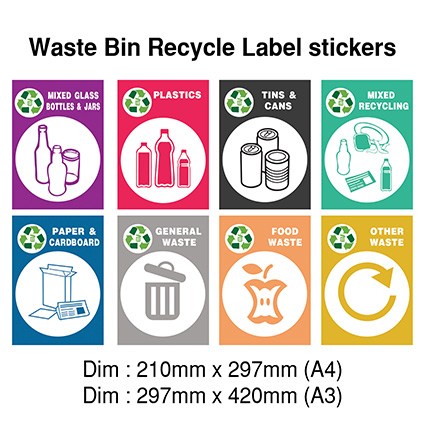 Waste Bin Recycle Sticker (Series B)